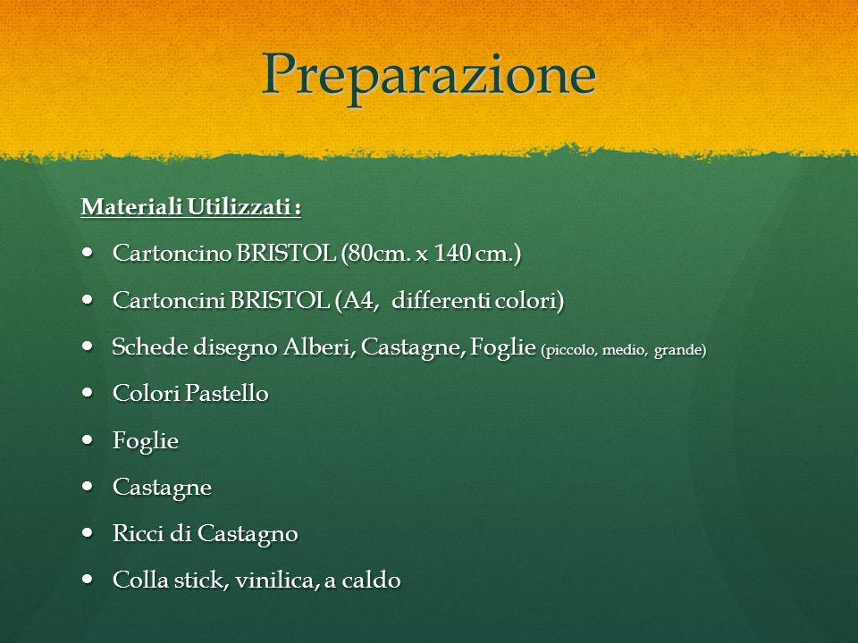 Preparazione Materiali Utilizzati : Cartoncino BRISTOL (80cm. x 140 cm.) Cartoncino BRISTOL (80cm. x 140 cm.) Cartoncini BRISTOL (A4, differenti color