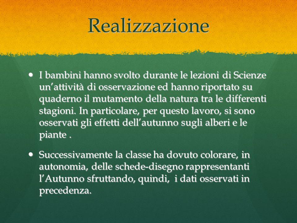 Realizzazione I bambini hanno svolto durante le lezioni di Scienze unattività di osservazione ed hanno riportato su quaderno il mutamento della natura