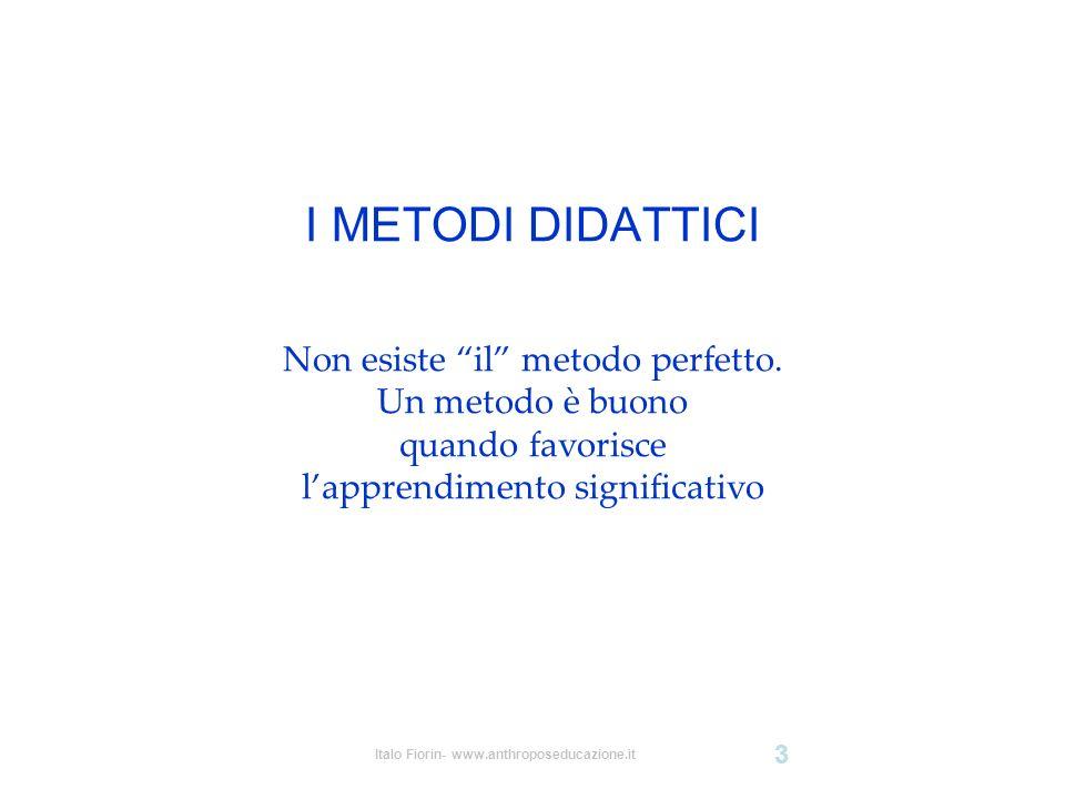 Italo Fiorin- www.anthroposeducazione.it 3 I METODI DIDATTICI Non esiste il metodo perfetto. Un metodo è buono quando favorisce lapprendimento signifi