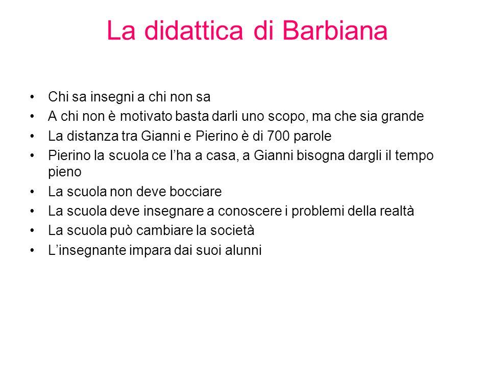 La didattica di Barbiana Chi sa insegni a chi non sa A chi non è motivato basta darli uno scopo, ma che sia grande La distanza tra Gianni e Pierino è
