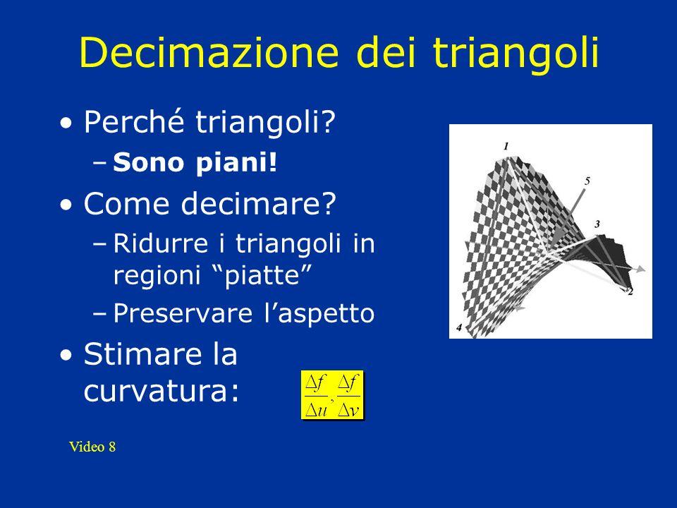 Decimazione dei triangoli Perché triangoli? –Sono piani! Come decimare? –Ridurre i triangoli in regioni piatte –Preservare laspetto Stimare la curvatu