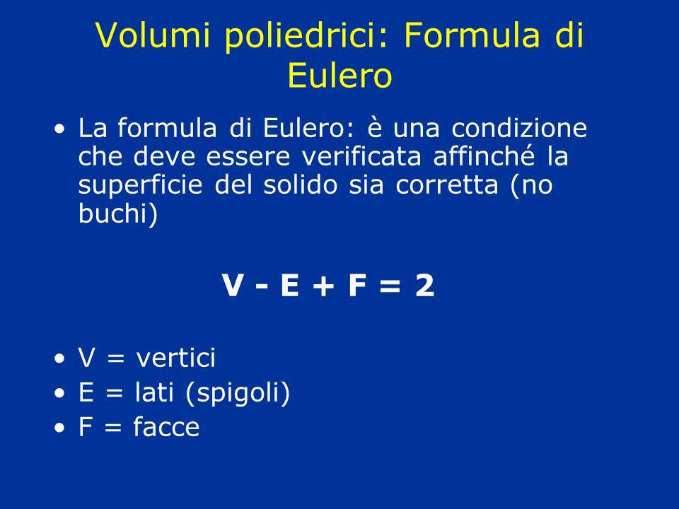 Volumi poliedrici: Formula di Eulero La formula di Eulero: è una condizione che deve essere verificata affinché la superficie del solido sia corretta