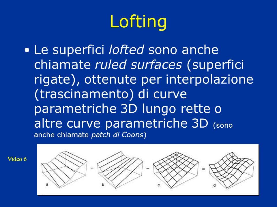 Lofting Le superfici lofted sono anche chiamate ruled surfaces (superfici rigate), ottenute per interpolazione (trascinamento) di curve parametriche 3