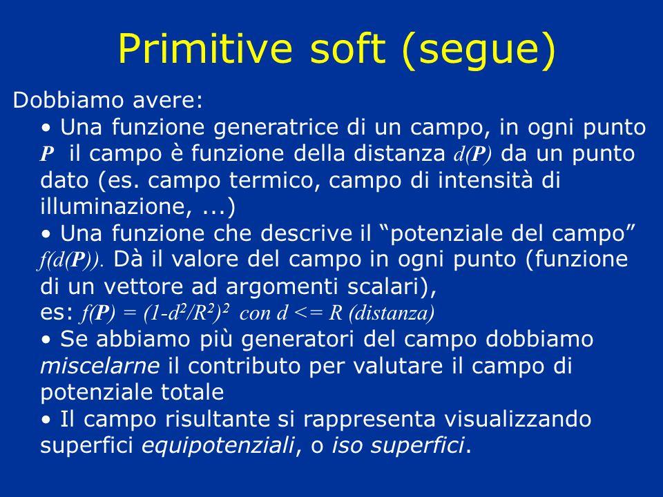 Primitive soft (segue) Dobbiamo avere: Una funzione generatrice di un campo, in ogni punto P il campo è funzione della distanza d(P) da un punto dato