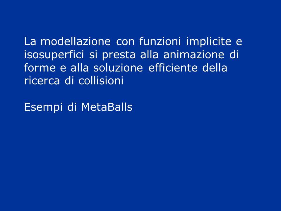 La modellazione con funzioni implicite e isosuperfici si presta alla animazione di forme e alla soluzione efficiente della ricerca di collisioni Esemp