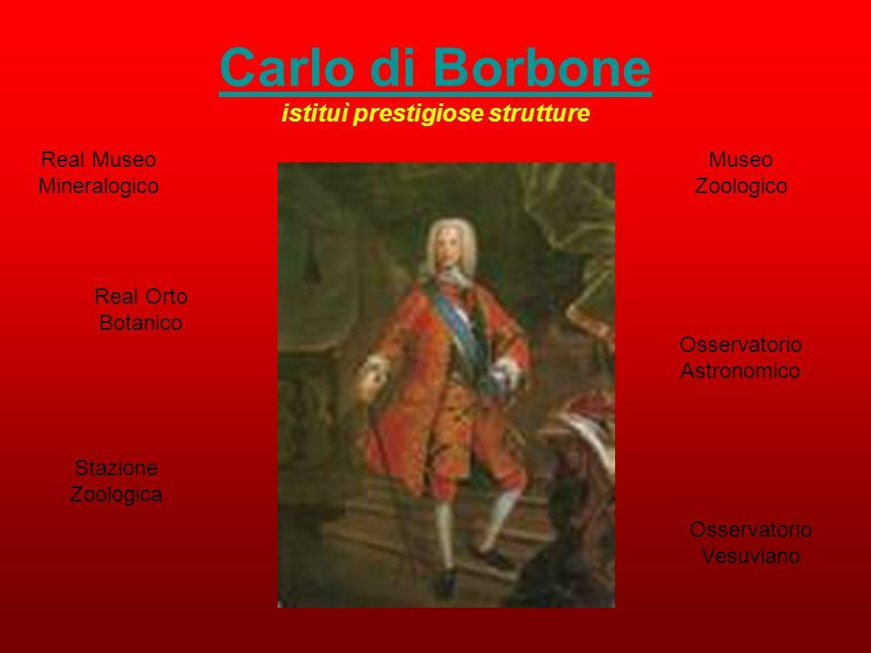 Carlo di Borbone istituì prestigiose strutture Real Museo Mineralogico Real Orto Botanico Museo Zoologico Osservatorio Astronomico Stazione Zoologica Osservatorio Vesuviano