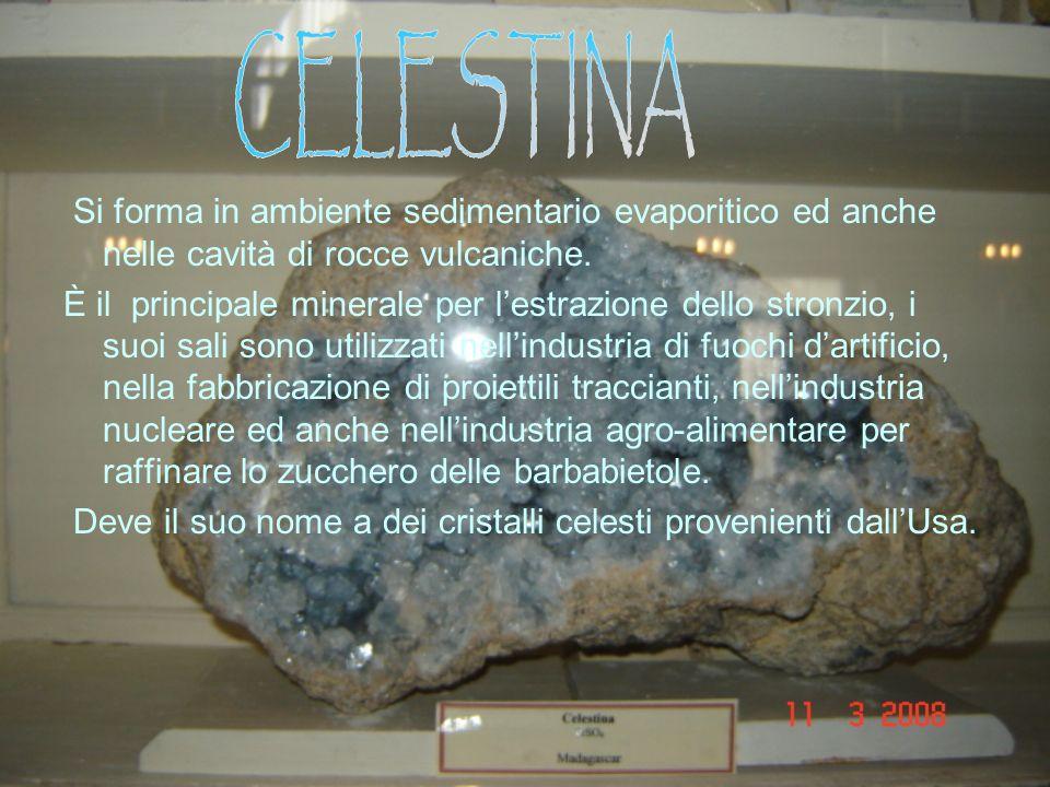 Si forma in ambiente sedimentario evaporitico ed anche nelle cavità di rocce vulcaniche.