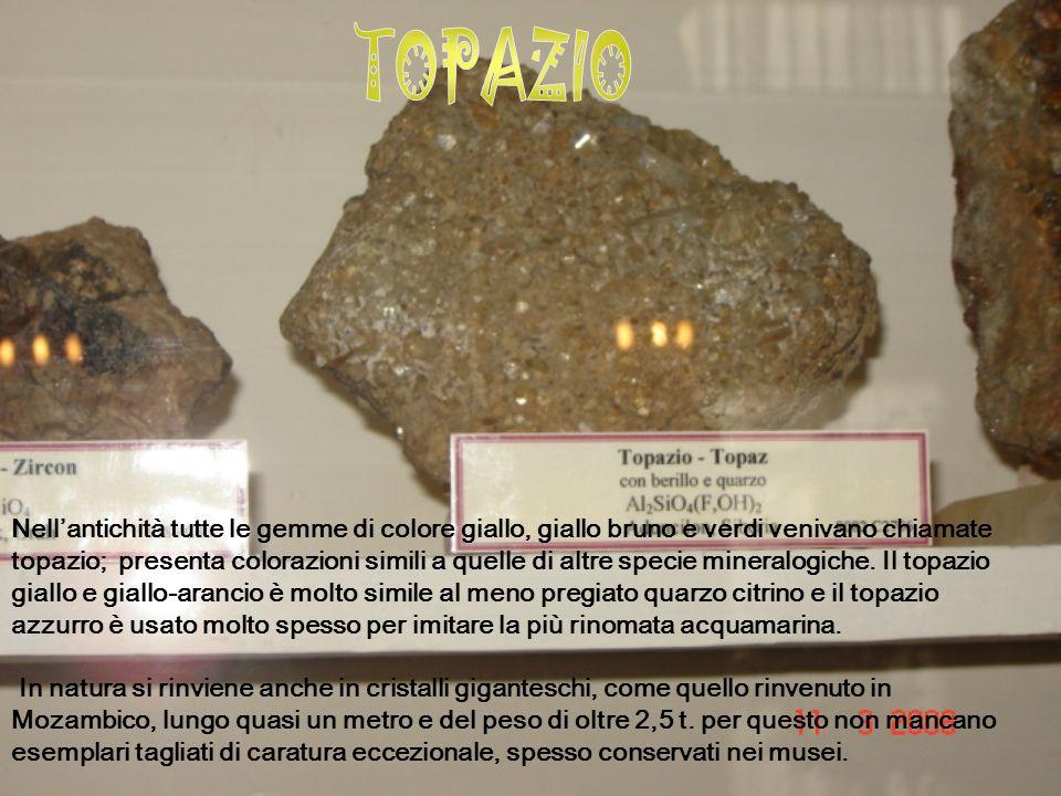 Nellantichità tutte le gemme di colore giallo, giallo bruno e verdi venivano chiamate topazio; presenta colorazioni simili a quelle di altre specie mineralogiche.