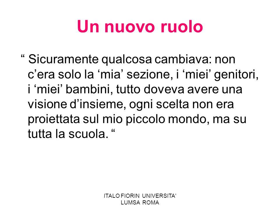 ITALO FIORIN UNIVERSITA' LUMSA ROMA Un nuovo ruolo Sicuramente qualcosa cambiava: non cera solo la mia sezione, i miei genitori, i miei bambini, tutto