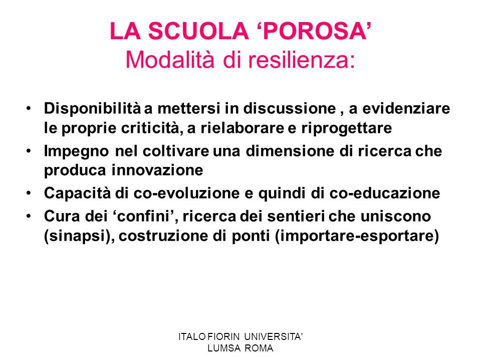 ITALO FIORIN UNIVERSITA' LUMSA ROMA LA SCUOLA POROSA Modalità di resilienza: Disponibilità a mettersi in discussione, a evidenziare le proprie critici