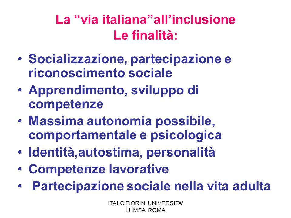 La via italianaallinclusione Le finalità: Socializzazione, partecipazione e riconoscimento sociale Apprendimento, sviluppo di competenze Massima auton