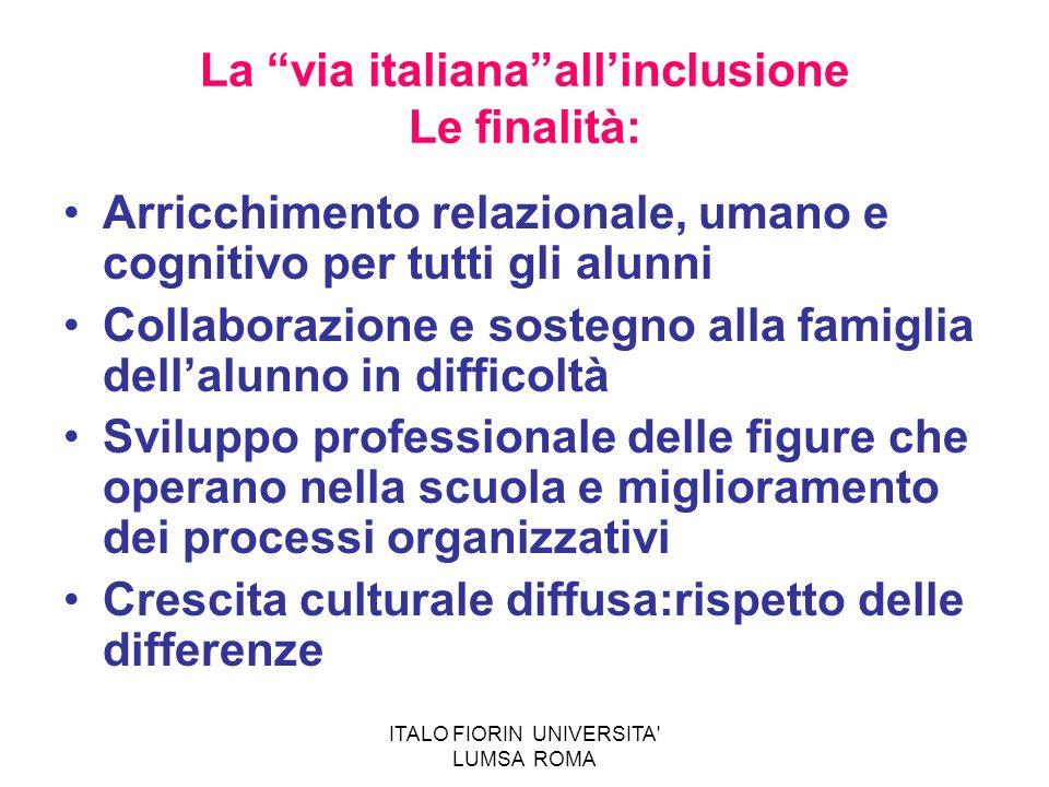 ITALO FIORIN UNIVERSITA' LUMSA ROMA La via italianaallinclusione Le finalità: Arricchimento relazionale, umano e cognitivo per tutti gli alunni Collab