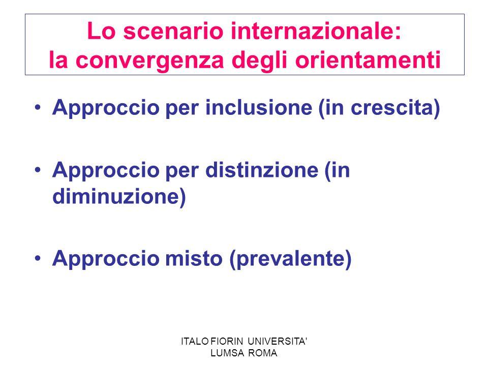 ITALO FIORIN UNIVERSITA' LUMSA ROMA Lo scenario internazionale: la convergenza degli orientamenti Approccio per inclusione (in crescita) Approccio per