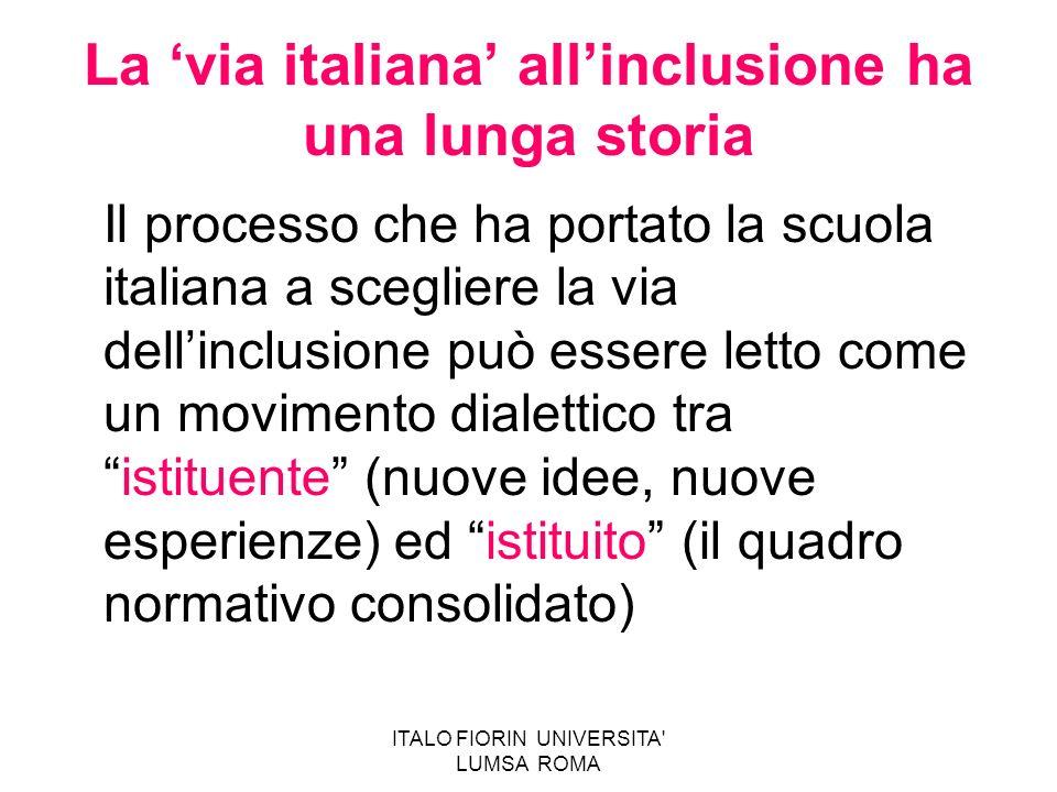 ITALO FIORIN UNIVERSITA' LUMSA ROMA La via italiana allinclusione ha una lunga storia Il processo che ha portato la scuola italiana a scegliere la via