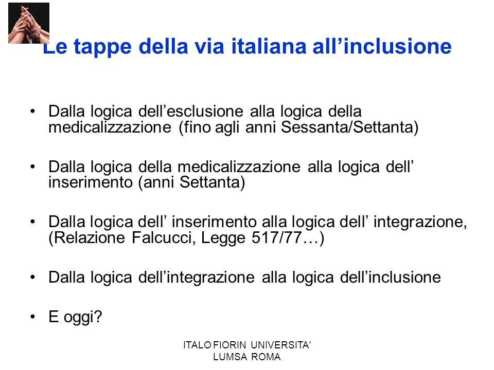 ITALO FIORIN UNIVERSITA' LUMSA ROMA Le tappe della via italiana allinclusione Dalla logica dellesclusione alla logica della medicalizzazione (fino agl