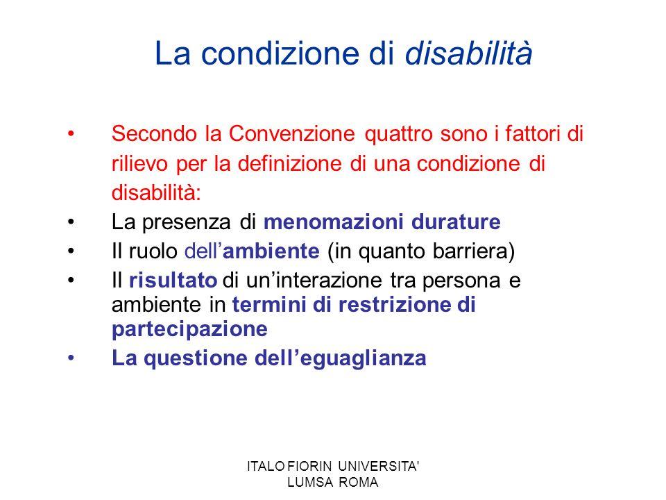 ITALO FIORIN UNIVERSITA' LUMSA ROMA La condizione di disabilità Secondo la Convenzione quattro sono i fattori di rilievo per la definizione di una con