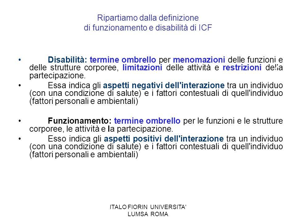 ITALO FIORIN UNIVERSITA' LUMSA ROMA Ripartiamo dalla definizione di funzionamento e disabilità di ICF Disabilità: termine ombrello per menomazioni del