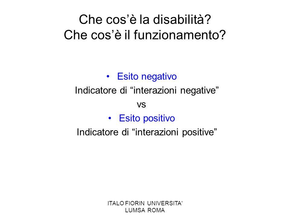 ITALO FIORIN UNIVERSITA' LUMSA ROMA Che cosè la disabilità? Che cosè il funzionamento? Esito negativo Indicatore di interazioni negative vs Esito posi