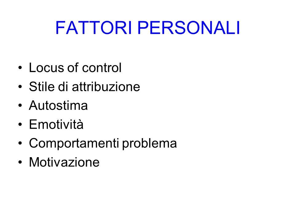 FATTORI PERSONALI Locus of control Stile di attribuzione Autostima Emotività Comportamenti problema Motivazione