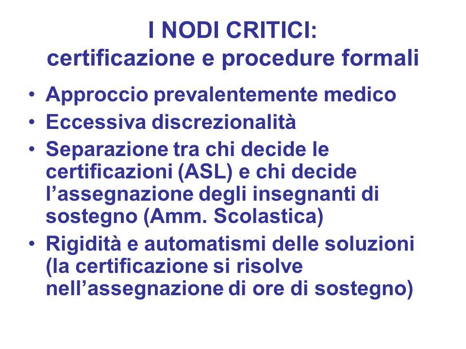 I NODI CRITICI: certificazione e procedure formali Approccio prevalentemente medico Eccessiva discrezionalità Separazione tra chi decide le certificaz