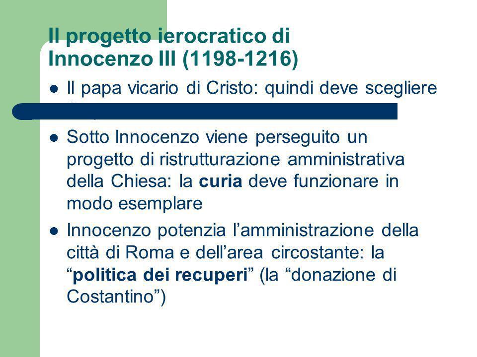 Il progetto ierocratico di Innocenzo III (1198-1216) Il papa vicario di Cristo: quindi deve scegliere limperatore Sotto Innocenzo viene perseguito un
