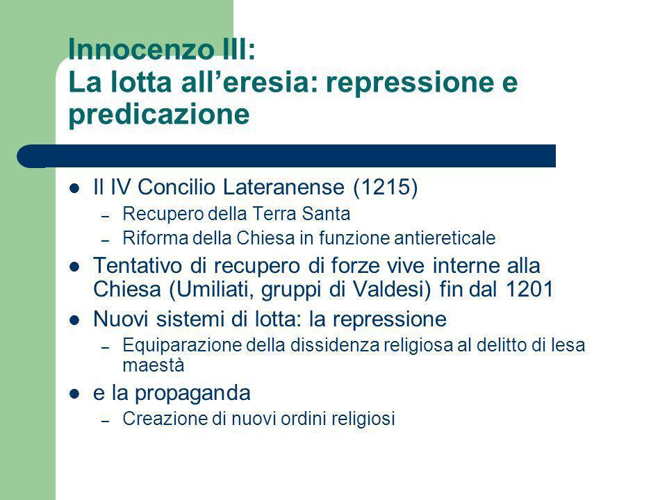 Innocenzo III: La lotta alleresia: repressione e predicazione Il IV Concilio Lateranense (1215) – Recupero della Terra Santa – Riforma della Chiesa in