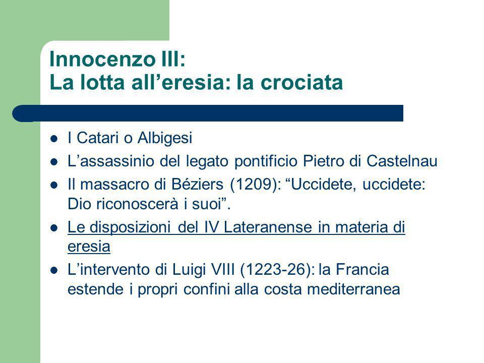 Innocenzo III: La lotta alleresia: la crociata I Catari o Albigesi Lassassinio del legato pontificio Pietro di Castelnau Il massacro di Béziers (1209)