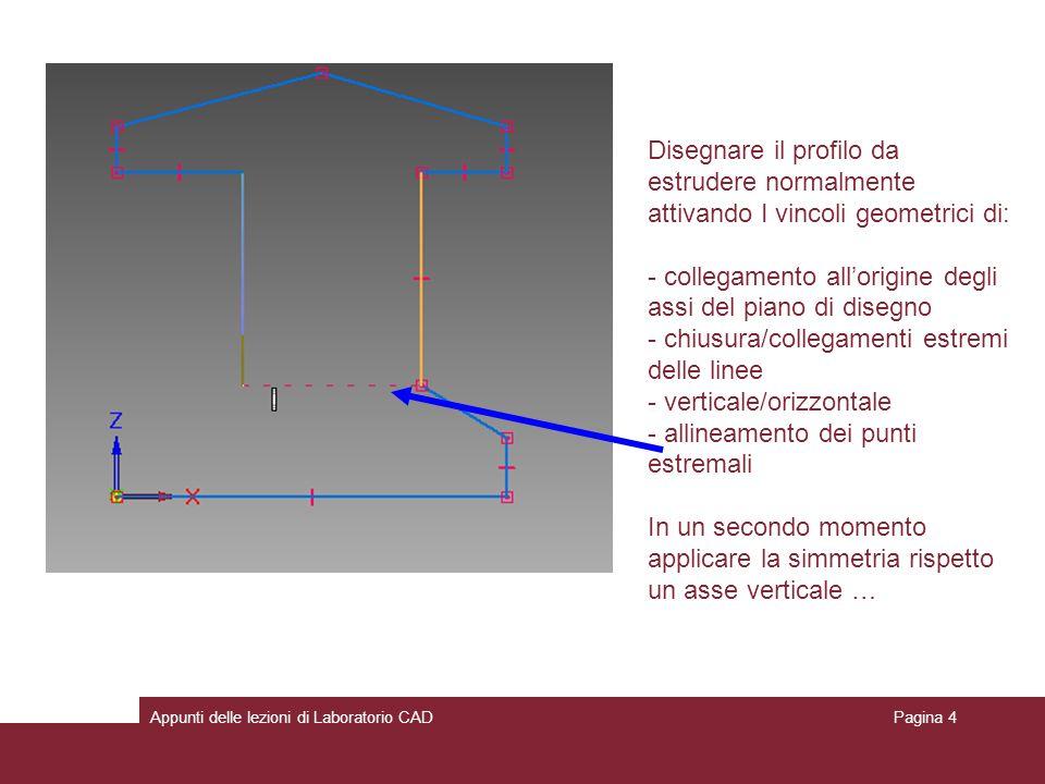 Appunti delle lezioni di Laboratorio CADPagina 4 Disegnare il profilo da estrudere normalmente attivando I vincoli geometrici di: - collegamento allorigine degli assi del piano di disegno - chiusura/collegamenti estremi delle linee - verticale/orizzontale - allineamento dei punti estremali In un secondo momento applicare la simmetria rispetto un asse verticale …