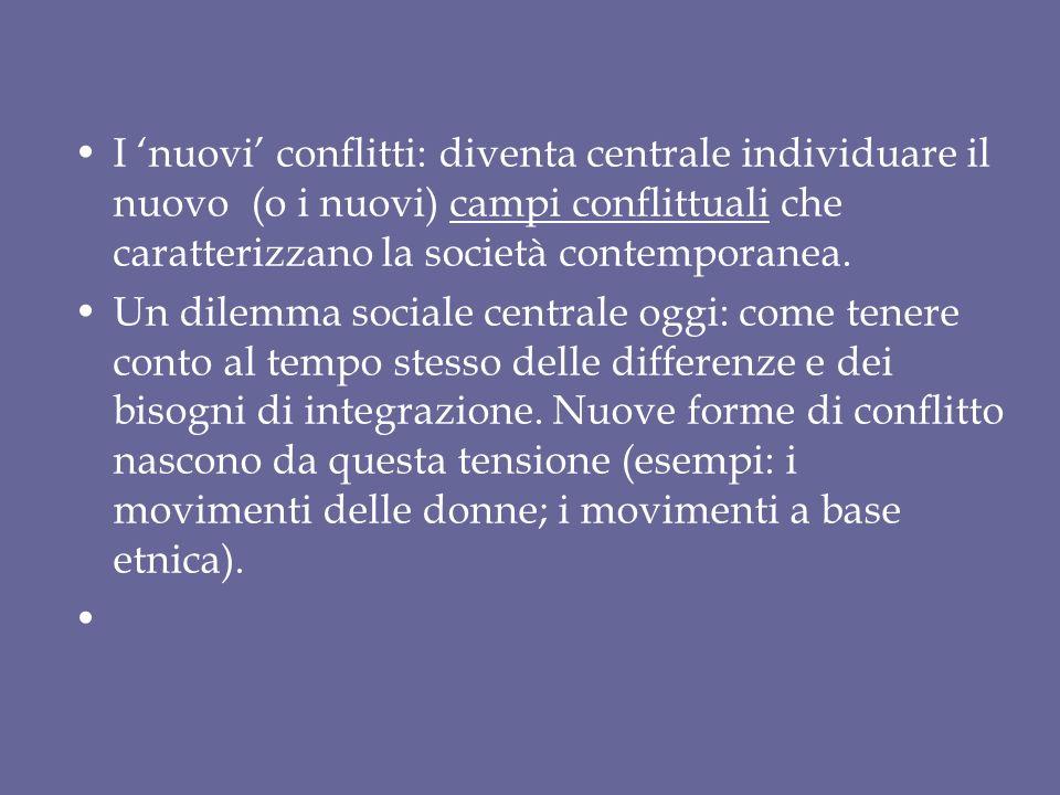 Le dimensioni centrali per lo studio dei conflitti sociali nelle società contemporanee (rielaborando Touraine 1975, vedi Grossi 2008): 1.