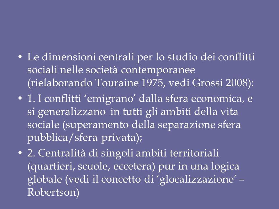 Le dimensioni centrali per lo studio dei conflitti sociali nelle società contemporanee (rielaborando Touraine 1975, vedi Grossi 2008): 1. I conflitti