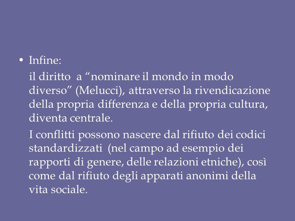 Infine: il diritto a nominare il mondo in modo diverso (Melucci), attraverso la rivendicazione della propria differenza e della propria cultura, diven