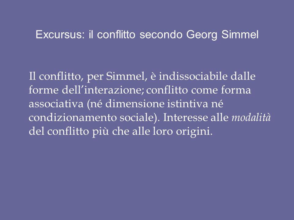 Excursus: il conflitto secondo Georg Simmel Il conflitto, per Simmel, è indissociabile dalle forme dellinterazione; conflitto come forma associativa (