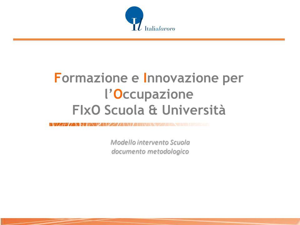 Formazione e Innovazione per lOccupazione FIxO Scuola & Università Modello intervento Scuola documento metodologico