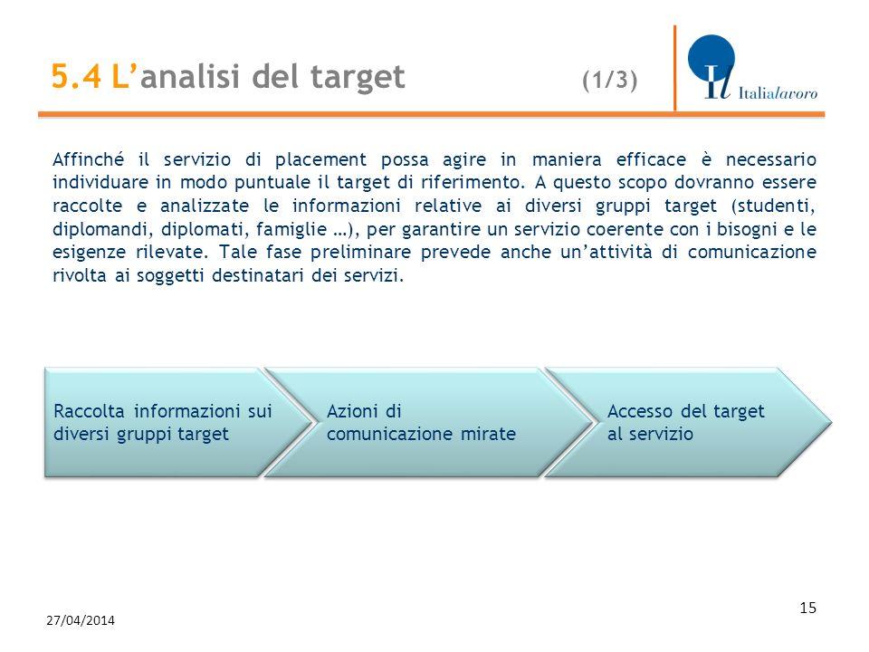 Affinché il servizio di placement possa agire in maniera efficace è necessario individuare in modo puntuale il target di riferimento. A questo scopo d