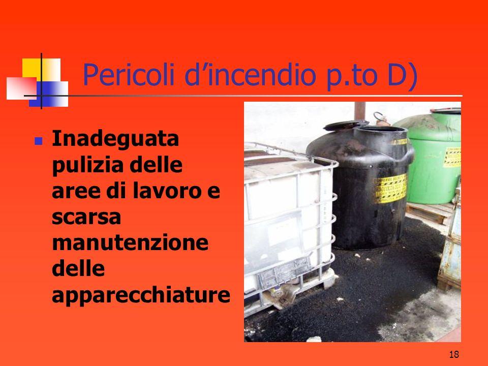 18 Pericoli dincendio p.to D) Inadeguata pulizia delle aree di lavoro e scarsa manutenzione delle apparecchiature