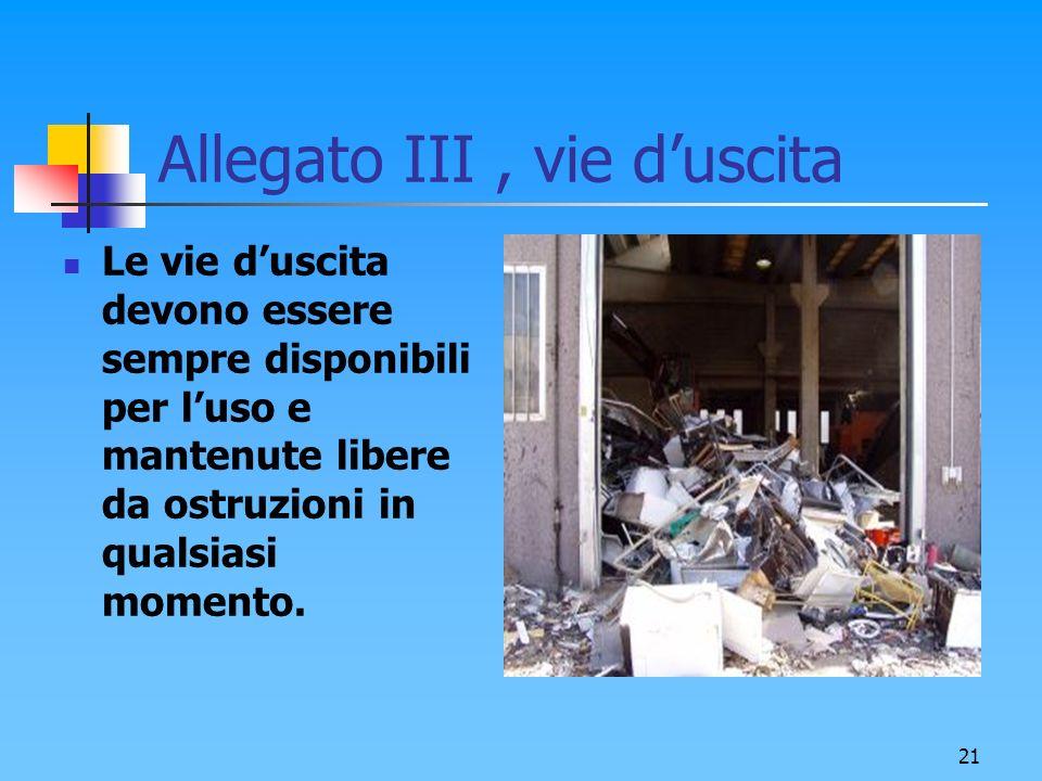 21 Allegato III, vie duscita Le vie duscita devono essere sempre disponibili per luso e mantenute libere da ostruzioni in qualsiasi momento.