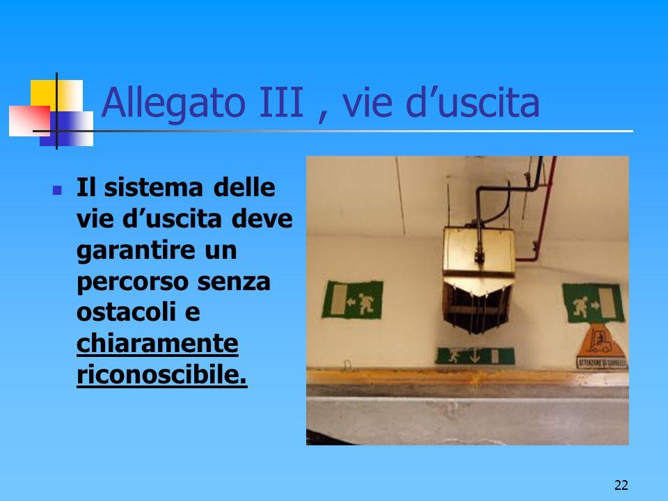 22 Allegato III, vie duscita Il sistema delle vie duscita deve garantire un percorso senza ostacoli e chiaramente riconoscibile.