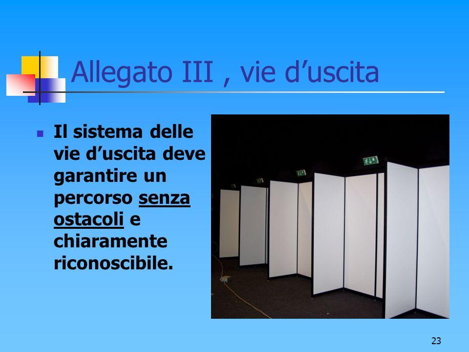 23 Allegato III, vie duscita Il sistema delle vie duscita deve garantire un percorso senza ostacoli e chiaramente riconoscibile.