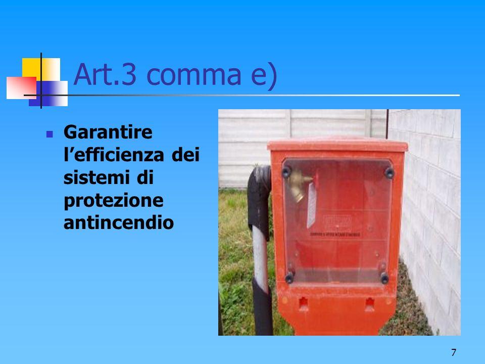 8 Art.3 comma e) Garantire lefficienza dei sistemi di protezione antincendio