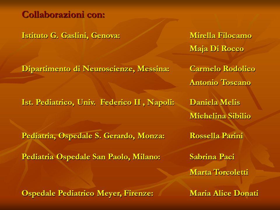 Collaborazioni con: Istituto G. Gaslini, Genova: Mirella Filocamo Maja Di Rocco Maja Di Rocco Dipartimento di Neuroscienze, Messina: Carmelo Rodolico