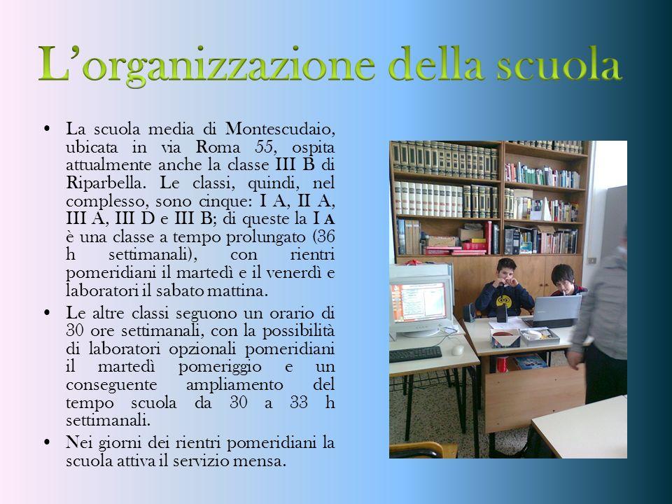 La scuola media di Montescudaio, ubicata in via Roma 55, ospita attualmente anche la classe III B di Riparbella. Le classi, quindi, nel complesso, son