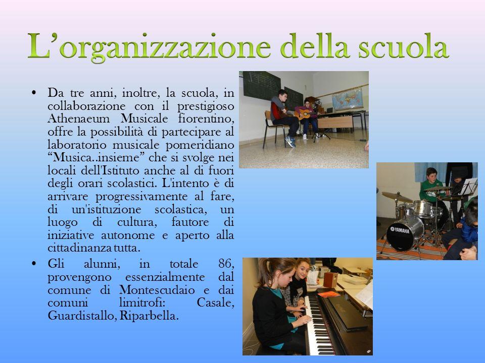 Da tre anni, inoltre, la scuola, in collaborazione con il prestigioso Athenaeum Musicale fiorentino, offre la possibilità di partecipare al laboratori
