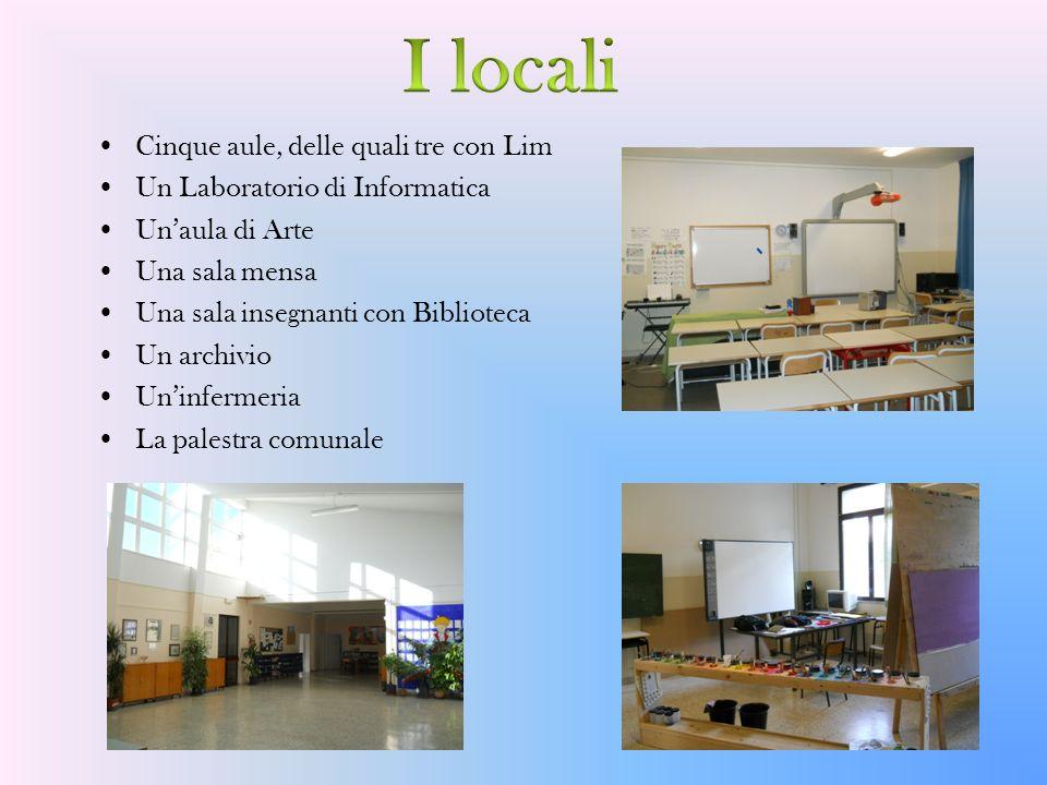Cinque aule, delle quali tre con Lim Un Laboratorio di Informatica Unaula di Arte Una sala mensa Una sala insegnanti con Biblioteca Un archivio Uninfe