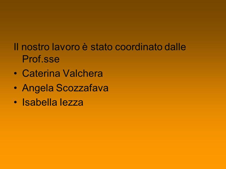 Il nostro lavoro è stato coordinato dalle Prof.sse Caterina Valchera Angela Scozzafava Isabella Iezza