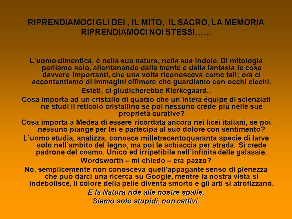 Credits RIPRENDIAMOCI GLI DEI, IL MITO, IL SACRO, LA MEMORIA RIPRENDIAMOCI NOI STESSI……Livia FiloticoIIIi CONVENZIONE ONU SULLA DESERTIFICAZIONERodolfo Donatelli IIi LA CULTURA DELLGiulia MonteduroIi ACQUA DESERTIFICAZIONE IN GENERALE E IN ITALIAGiorgia MasciottaIId Irene De BenedectisIId LA DESERTIFICAZIONE NELLA CALABRIALorenzo CordaIi Michela Mazza Ii Marco Valerio Priore Ii Maria Vittoria Caponetti Ii Costanza Barbato Ii LA DEFORESTAZIONE Ileana Camerata Ii LA BIODIVERSITA Riccardo Conti IId ASCOLTARE LE VOCI ALTRE Beatrice Palazzoni Ii Chiara Lomanto Ii Veronica Marabitti Ii LA FORESTA E IL SACRO Ileana Camerata Ii Stefania DAmico Ii Carlotta Franco Ii Francesca Roscini Ii LA DONNA IN AFRICA Maria Benedetta Giuliani Ii Roberto Vincenzo Iossa Ii SAHARA, 2040 – VIGNETTEFilippo AntonucciI i