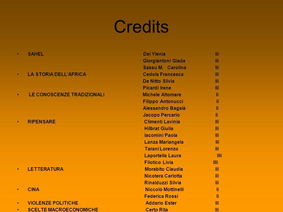 Credits SAHEL Dei Ylenia IIi Giorgiantoni GiadaIIi Sassu M. CarolinaIIi LA STORIA DELLAFRICA Cedola FrancescaIIi De Nitto SilviaIIi Picardi IreneIIi L