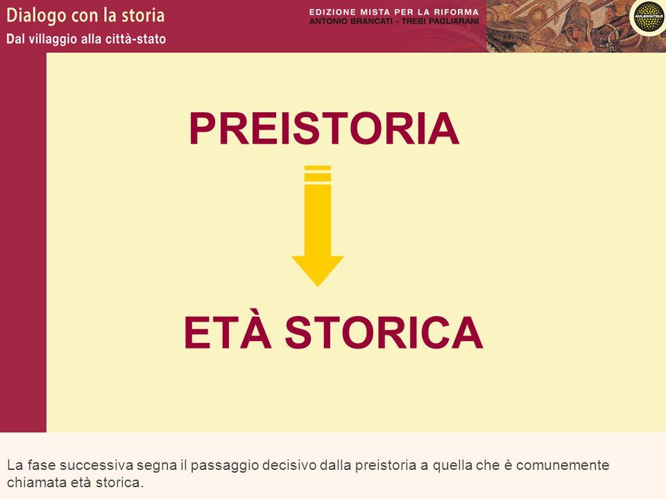 La fase successiva segna il passaggio decisivo dalla preistoria a quella che è comunemente chiamata età storica. PREISTORIA ETÀ STORICA