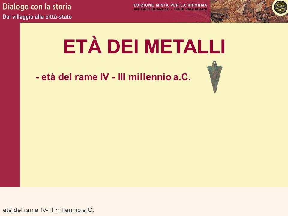 età del rame IV-III millennio a.C. ETÀ DEI METALLI - età del rame IV - III millennio a.C.