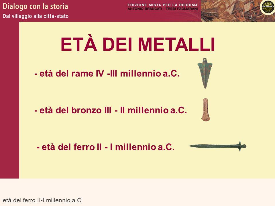 età del ferro II-I millennio a.C. ETÀ DEI METALLI - età del rame IV -III millennio a.C. - età del bronzo III - II millennio a.C. - età del ferro II -