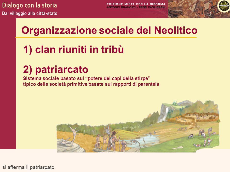 si afferma il patriarcato Organizzazione sociale del Neolitico 1) clan riuniti in tribù 2) patriarcato Sistema sociale basato sul potere dei capi dell